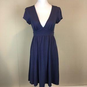 Ella Moss Dress Size Small Blue Cap Sleeve V-Neck